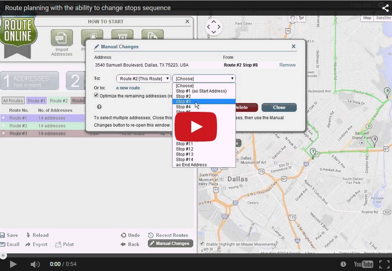 Route planning with the ability to change stops sequence-Video
