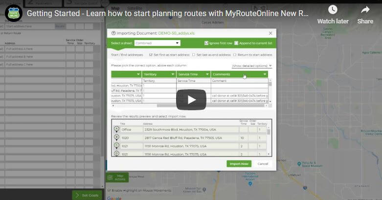 Getting started - planning routes