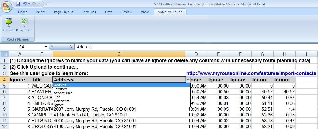 MyRouteOnline Excel Add-in Route Planner Screen shot