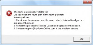 Route plan is not ready