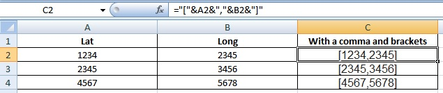 Lat and Long with brackets