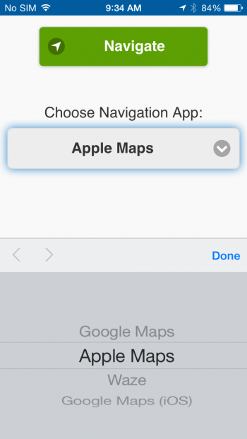 Select navigation app-iOS