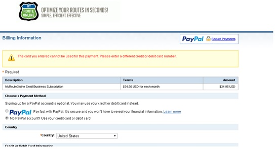 Issues paying with PayPal | MyRouteOnline