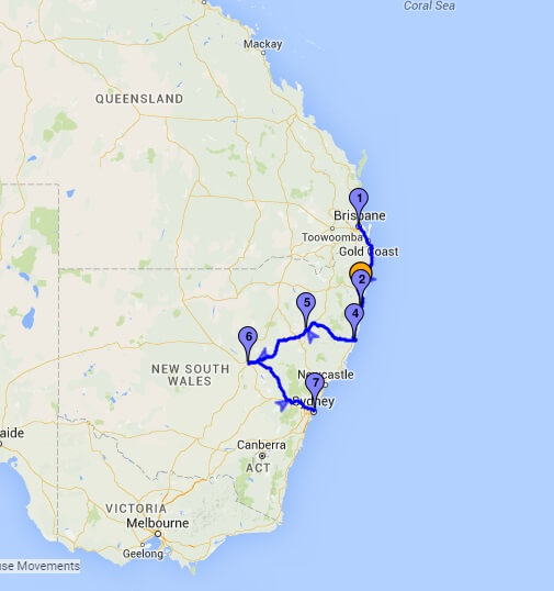 Australia route with MyRouteOnline
