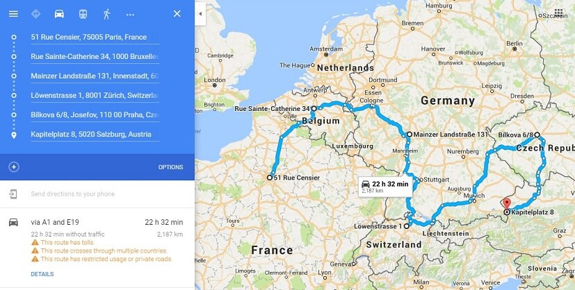 Route planner Europe Cross Country Route Optimization – Google Travel Planner Map
