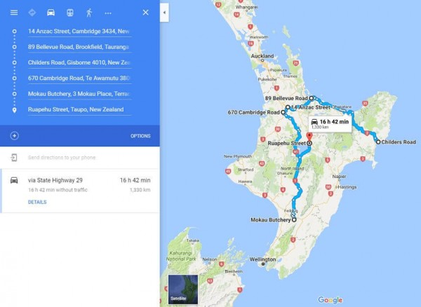 New Zealand route with Google Maps