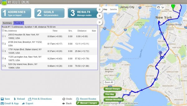 New York Route Planner - MyRouteOnline