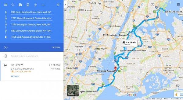 New York Route Planner NYC Driving Routes – Google Travel Planner Map